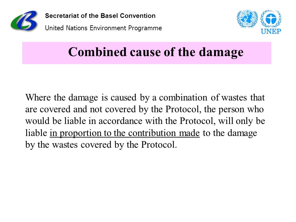 Secretariat of the Basel Convention United Nations Environment Programme Combined cause of the damage Where the damage is caused by a combination of w