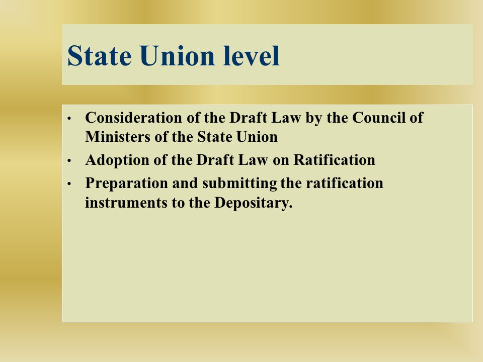 State Union level Consideration of the Draft Law by the Council of Ministers of the State Union Adoption of the Draft Law on Ratification Preparation