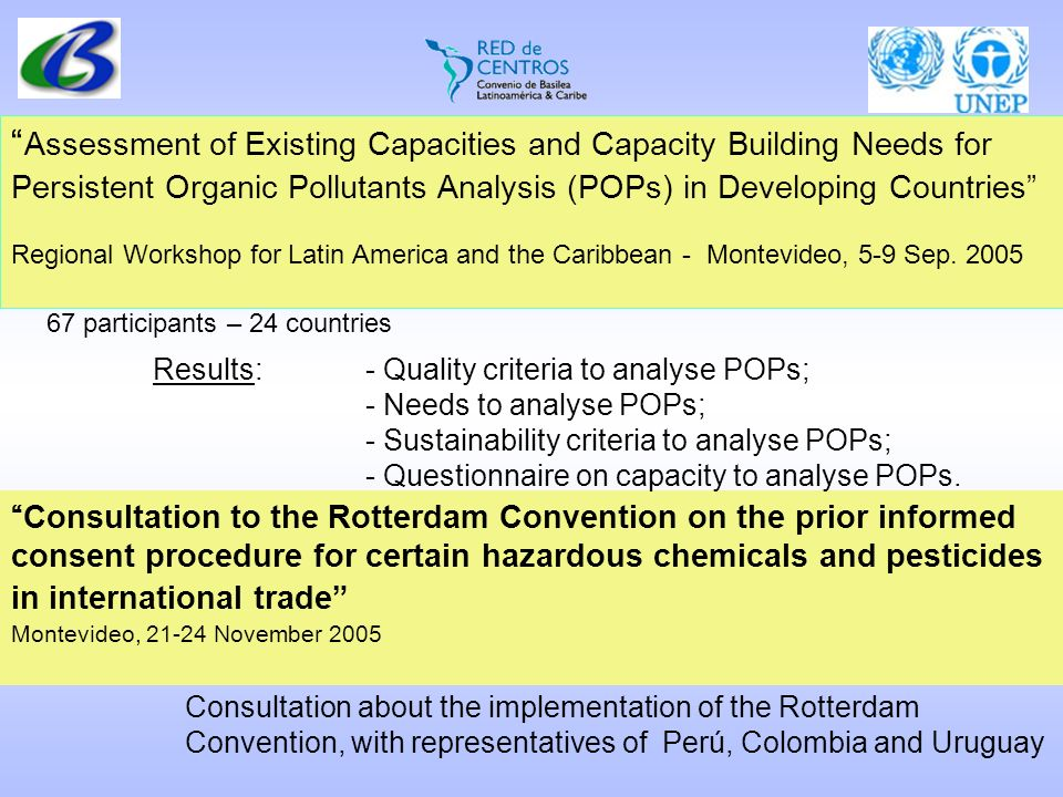 Assessment of Existing Capacities and Capacity Building Needs for Persistent Organic Pollutants Analysis (POPs) in Developing Countries Regional Workshop for Latin America and the Caribbean - Montevideo, 5-9 Sep.