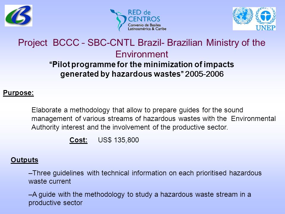 Project BCCC – SBC-CNTL Brazil- Brazilian Ministry of the Environment Pilot programme for the minimization of impacts generated by hazardous wastes 20