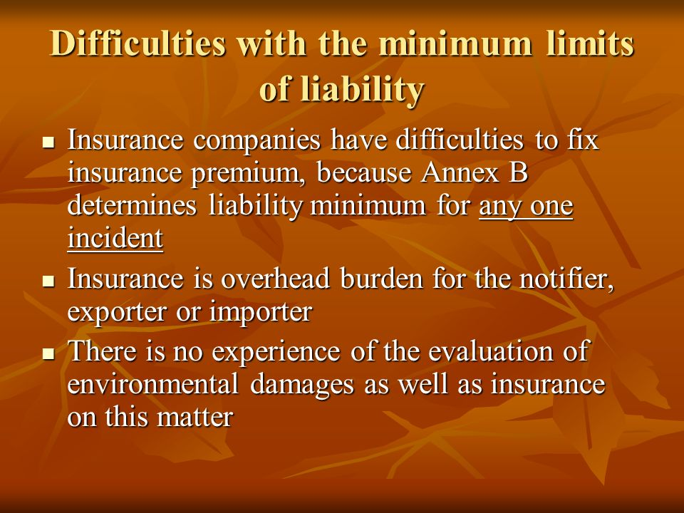 Difficulties with the minimum limits of liability Insurance companies have difficulties to fix insurance premium, because Annex B determines liability minimum for any one incident Insurance companies have difficulties to fix insurance premium, because Annex B determines liability minimum for any one incident Insurance is overhead burden for the notifier, exporter or importer Insurance is overhead burden for the notifier, exporter or importer There is no experience of the evaluation of environmental damages as well as insurance on this matter There is no experience of the evaluation of environmental damages as well as insurance on this matter