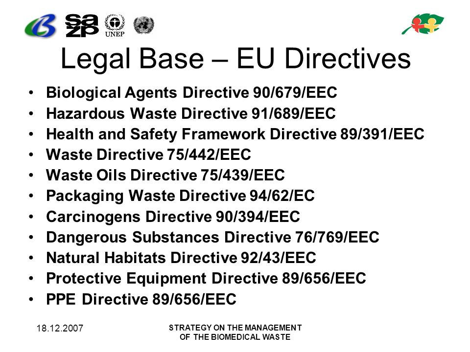18.12.2007 STRATEGY ON THE MANAGEMENT OF THE BIOMEDICAL WASTE Legal Base – EU Directives Biological Agents Directive 90/679/EEC Hazardous Waste Directive 91/689/EEC Health and Safety Framework Directive 89/391/EEC Waste Directive 75/442/EEC Waste Oils Directive 75/439/EEC Packaging Waste Directive 94/62/EC Carcinogens Directive 90/394/EEC Dangerous Substances Directive 76/769/EEC Natural Habitats Directive 92/43/EEC Protective Equipment Directive 89/656/EEC PPE Directive 89/656/EEC