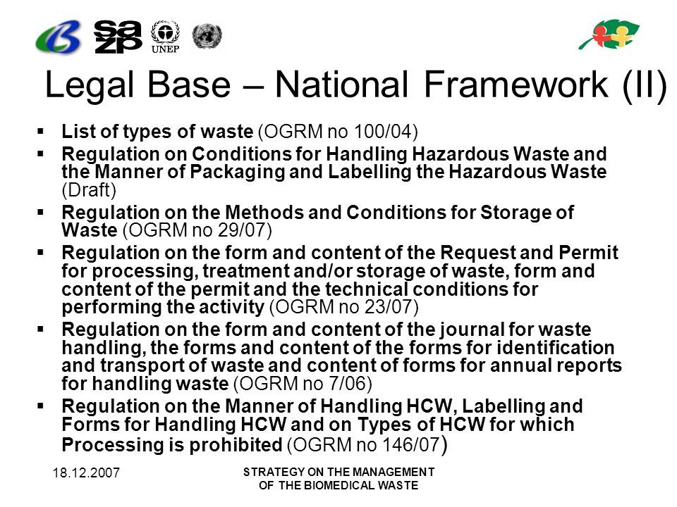 18.12.2007 STRATEGY ON THE MANAGEMENT OF THE BIOMEDICAL WASTE Stakeholders