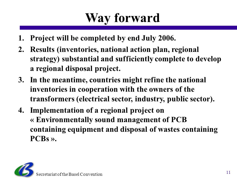 Secretariat of the Basel Convention 11 Way forward 1.Project will be completed by end July 2006.
