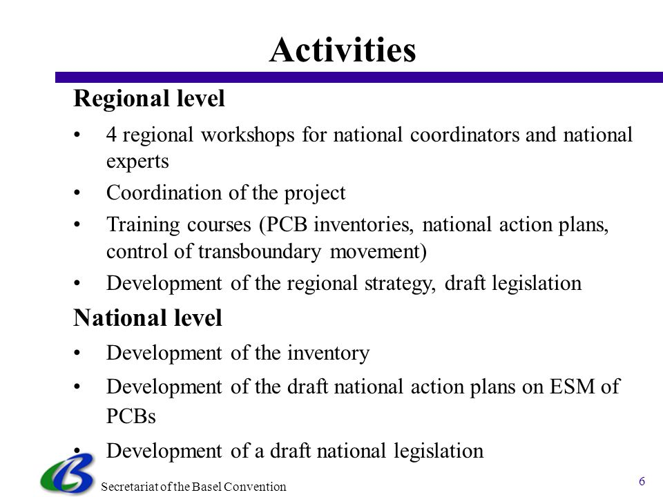 Secretariat of the Basel Convention 6 Regional level 4 regional workshops for national coordinators and national experts Coordination of the project Training courses (PCB inventories, national action plans, control of transboundary movement) Development of the regional strategy, draft legislation National level Development of the inventory Development of the draft national action plans on ESM of PCBs Development of a draft national legislation Activities