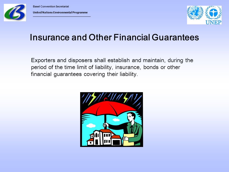 Basel Convention Secretariat United Nations Environmental Programme ___________________________________ Insurance and Other Financial Guarantees Exporters and disposers shall establish and maintain, during the period of the time limit of liability, insurance, bonds or other financial guarantees covering their liability.