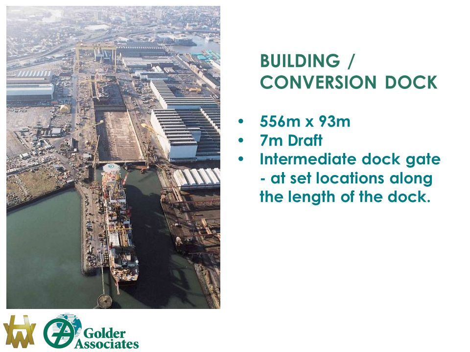 BUILDING / CONVERSION DOCK 556m x 93m 7m Draft Intermediate dock gate - at set locations along the length of the dock.