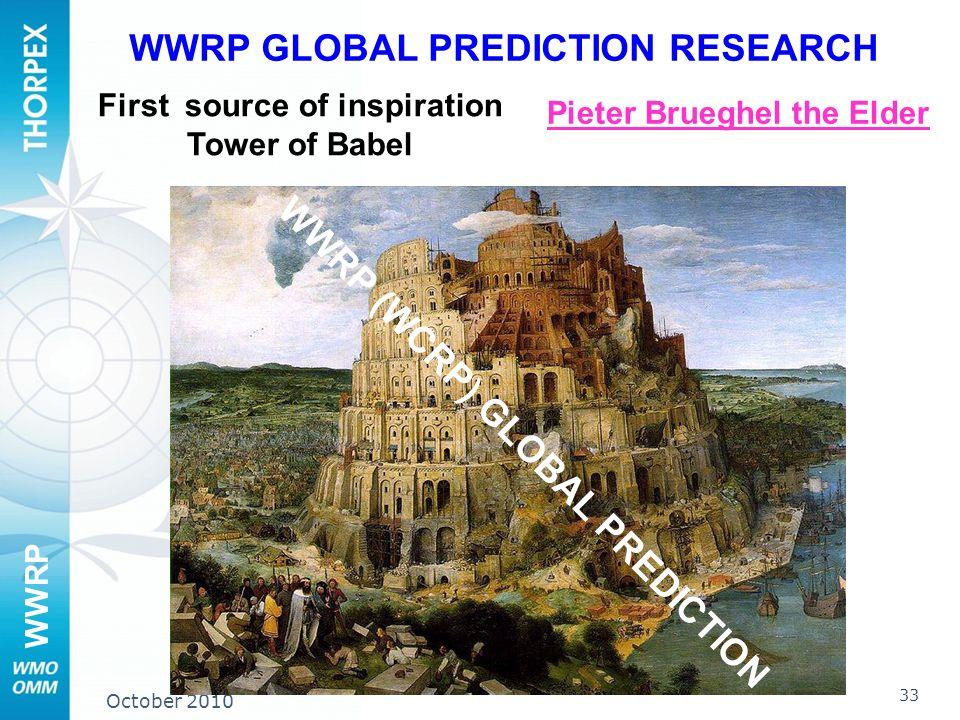 WWRP October 2010 Pieter Brueghel the Elder WWRP GLOBAL PREDICTION RESEARCH First source of inspiration Tower of Babel WWRP (WCRP) GLOBAL PREDICTION 3