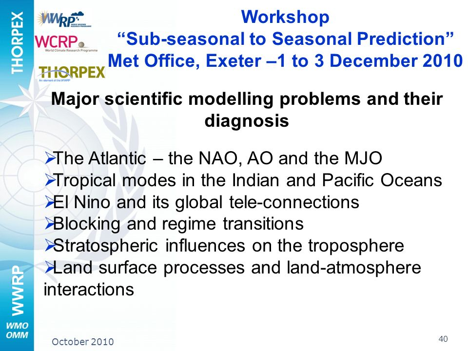 WWRP 40 October 2010 Workshop Sub-seasonal to Seasonal Prediction Met Office, Exeter –1 to 3 December 2010 Major scientific modelling problems and their diagnosis The Atlantic – the NAO, AO and the MJO Tropical modes in the Indian and Pacific Oceans El Nino and its global tele-connections Blocking and regime transitions Stratospheric influences on the troposphere Land surface processes and land-atmosphere interactions