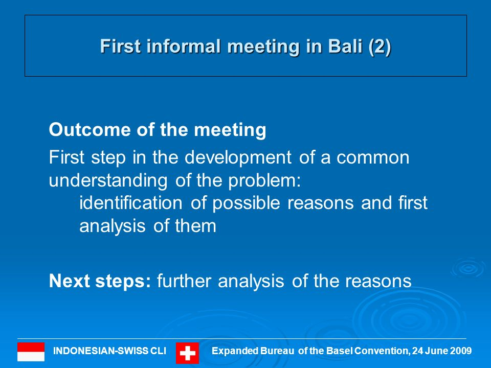 INDONESIAN-SWISS CLIExpanded Bureau of the Basel Convention, 24 June 2009 10 Process up to the second meeting of the CLI: June/July 2009 Publication of the report and relevant documents of the first meeting on the BC website (end of June) Invitation to all Parties to the Basel Convention, NGOs, IGOs and Non-Parties to submit comments, inputs and answer the questions Publication of the list of possible reasons for transboundary movements of hazardous wastes where ESM cannot be ensured for comments and inputs (mid July) Further process of the CLI
