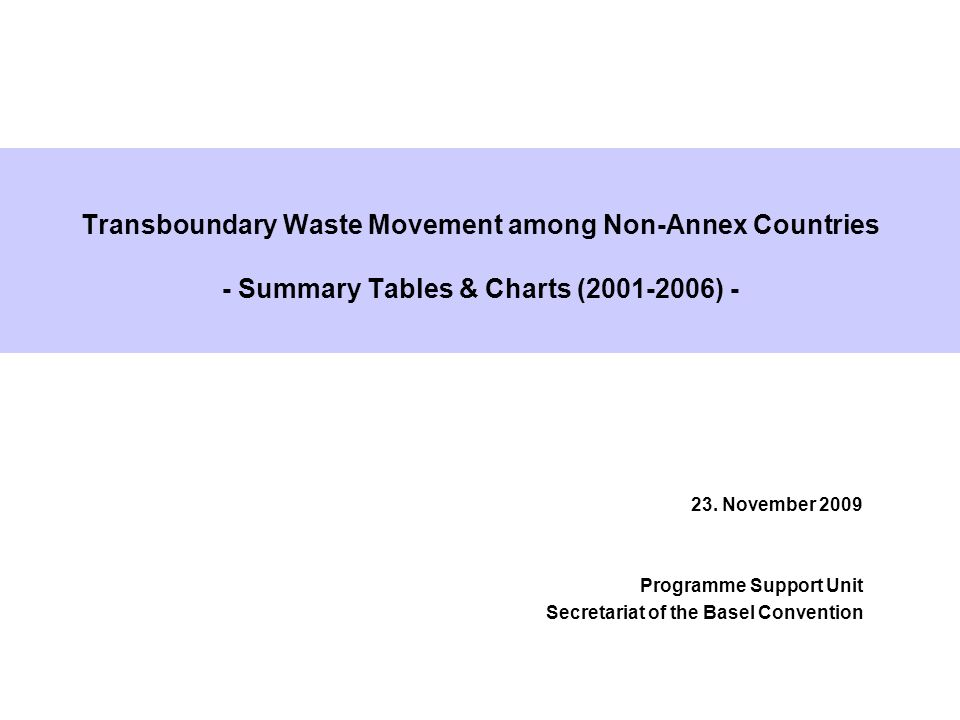 Transboundary Waste Movement among Non-Annex Countries - Summary Tables & Charts (2001-2006) - 23. November 2009 Programme Support Unit Secretariat of