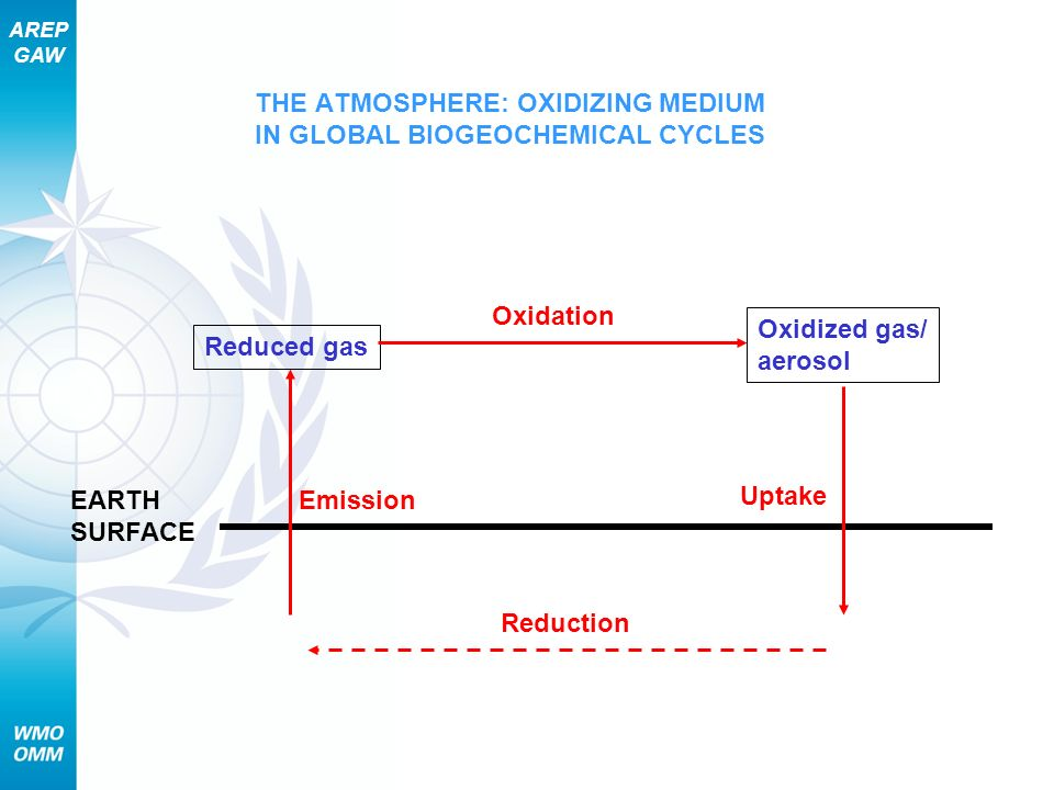 AREP GAW THE ATMOSPHERE: OXIDIZING MEDIUM IN GLOBAL BIOGEOCHEMICAL CYCLES EARTH SURFACE Emission Reduced gas Oxidized gas/ aerosol Oxidation Uptake Re