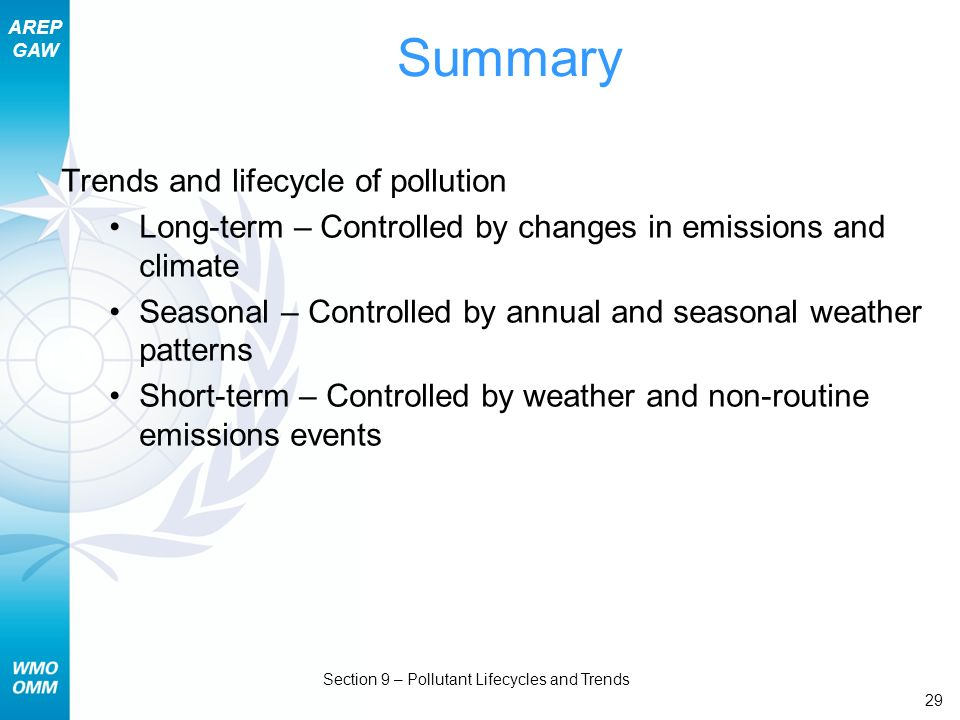 AREP GAW Section 9 – Pollutant Lifecycles and Trends 29 Summary Trends and lifecycle of pollution Long-term – Controlled by changes in emissions and c