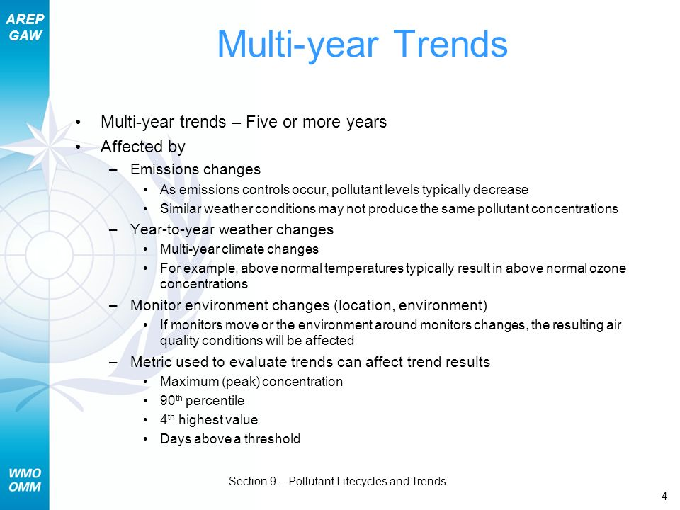 AREP GAW Section 9 – Pollutant Lifecycles and Trends 4 Multi-year Trends Multi-year trends – Five or more years Affected by –Emissions changes As emis