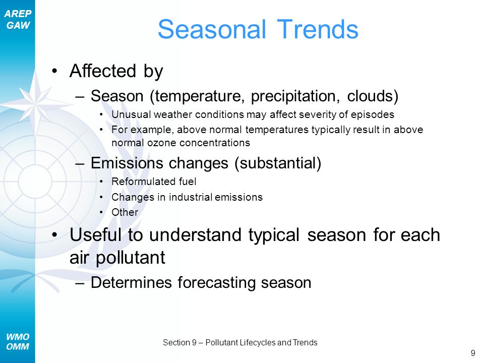 AREP GAW Section 9 – Pollutant Lifecycles and Trends 9 Seasonal Trends Affected by –Season (temperature, precipitation, clouds) Unusual weather condit