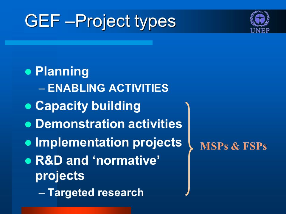 GEF –Project types Planning –ENABLING ACTIVITIES Capacity building Demonstration activities Implementation projects R&D and normative projects –Targeted research MSPs & FSPs