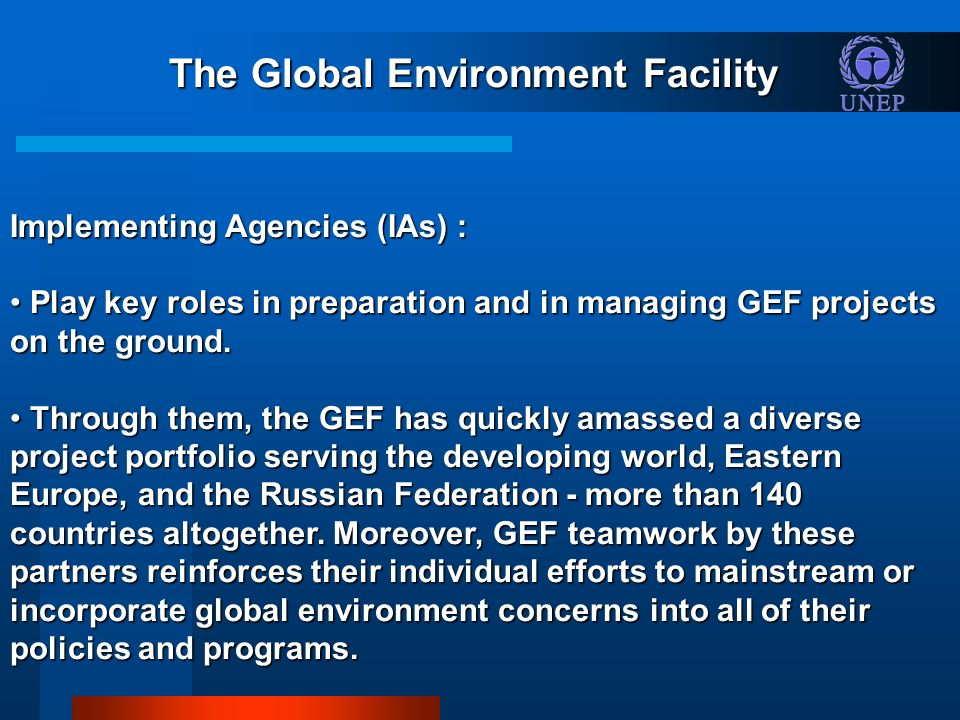 The Global Environment Facility Implementing Agencies (IAs) : Play key roles in preparation and in managing GEF projects on the ground.