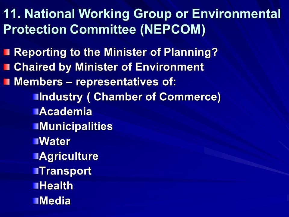 11. National Working Group or Environmental Protection Committee (NEPCOM) Reporting to the Minister of Planning? Chaired by Minister of Environment Me