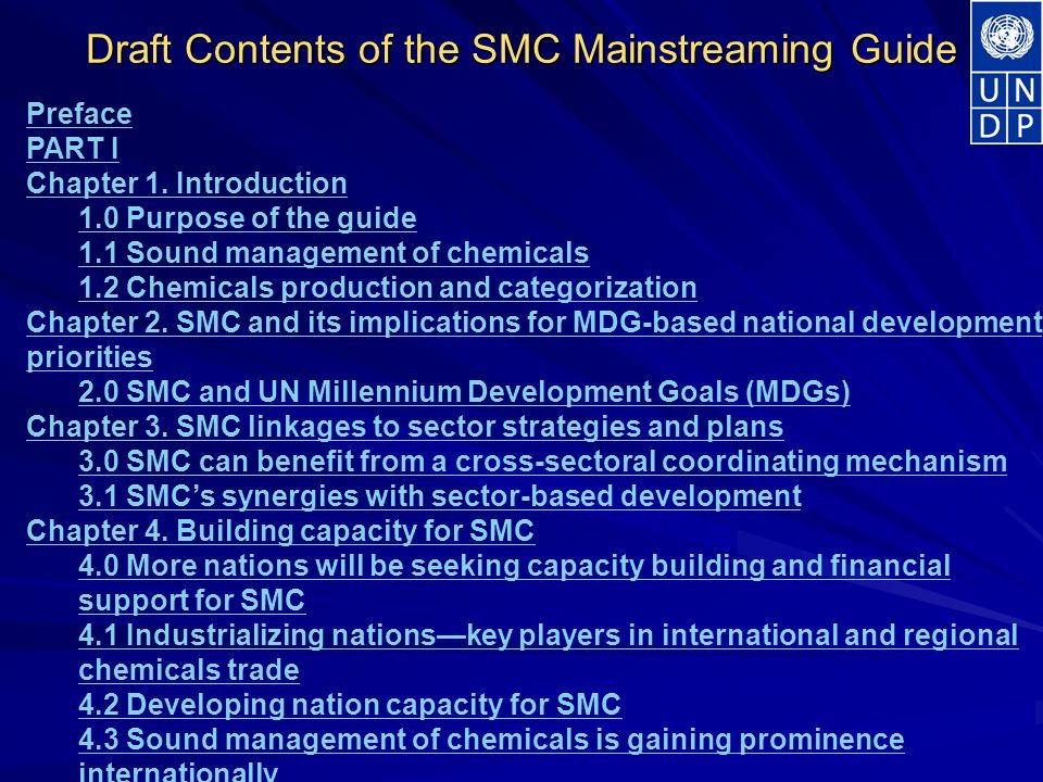 Draft Contents of the SMC Mainstreaming Guide Preface PART I Chapter 1.