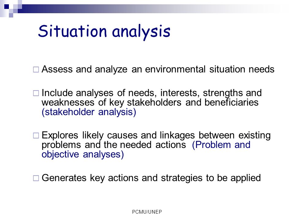 PCMU/UNEP Situation analysis (1): Stakeholder analysis 1.Identify the principal stakeholders at various levels – local, national, regional and international 2.Investigate their roles, interests, and relative powers and capacities to participate 3.Identify the extent of cooperation or conflict in the relationships among stakeholders 4.Interpret the findings of the analysis and define how they should be incorporated into project design
