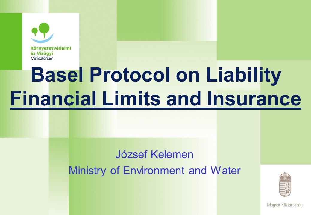 Basel Protocol on Liability Financial Limits and Insurance József Kelemen Ministry of Environment and Water