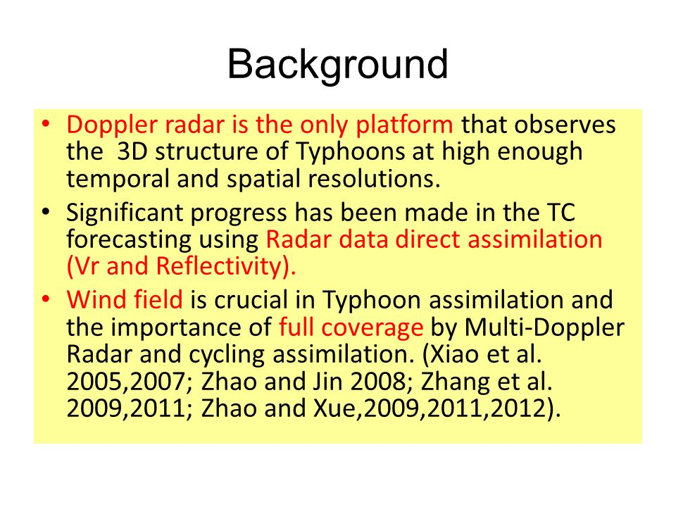 Background Doppler radar is the only platform that observes the 3D structure of Typhoons at high enough temporal and spatial resolutions.