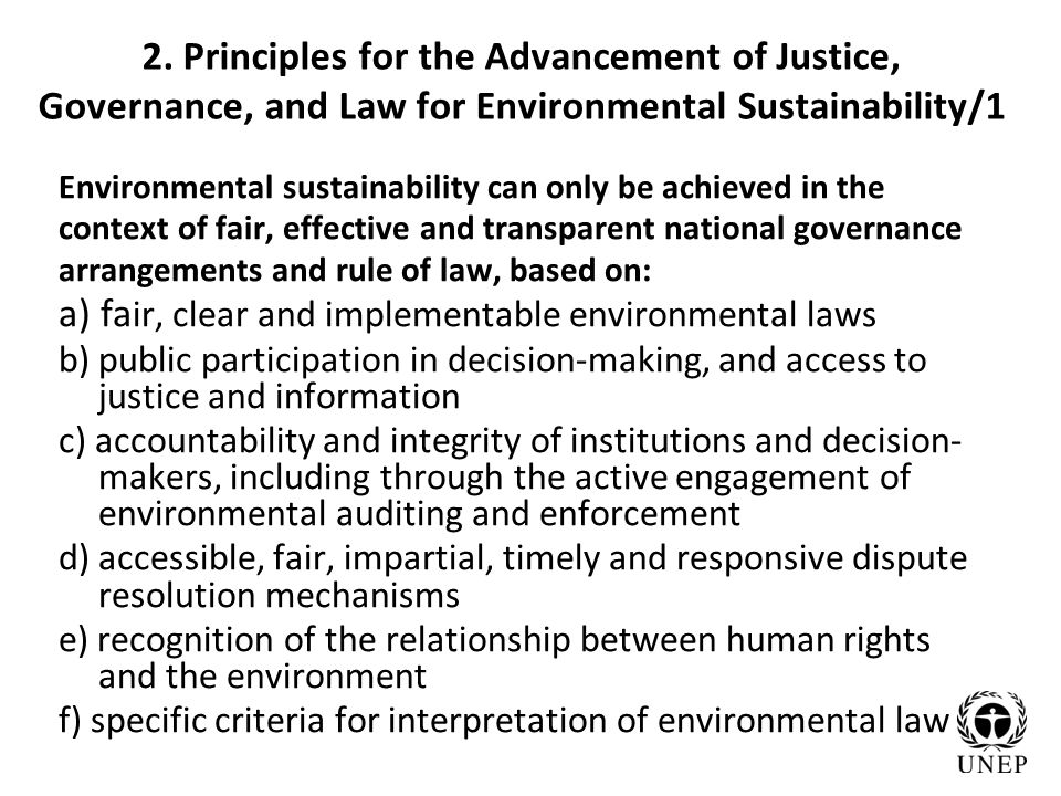 2. Principles for the Advancement of Justice, Governance, and Law for Environmental Sustainability/1 Environmental sustainability can only be achieved