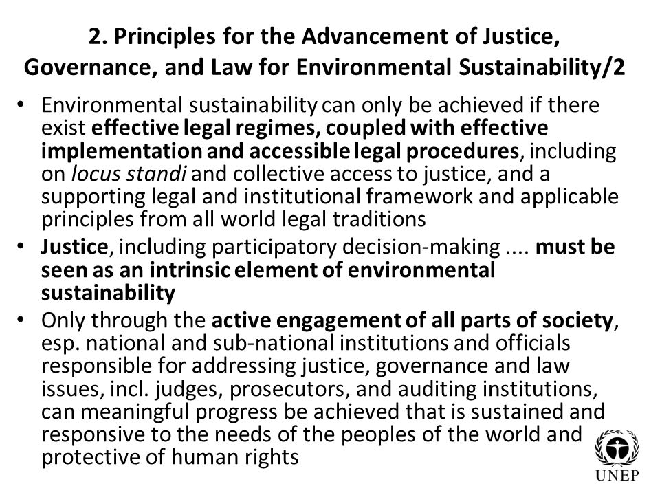 2. Principles for the Advancement of Justice, Governance, and Law for Environmental Sustainability/2 Environmental sustainability can only be achieved