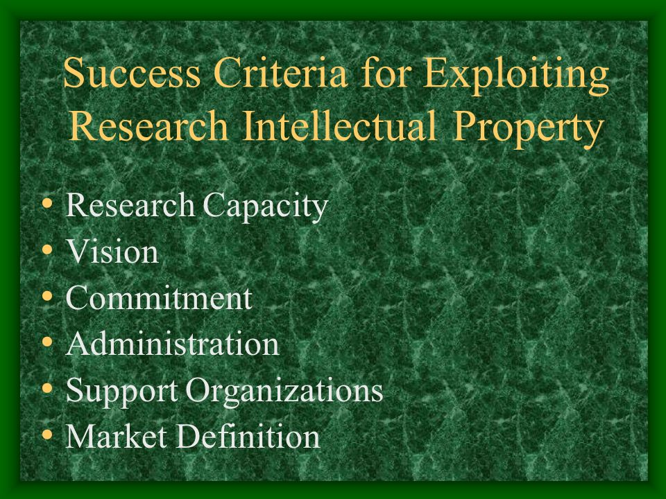 Success Criteria for Exploiting Research Intellectual Property Research Capacity Vision Commitment Administration Support Organizations Market Definition