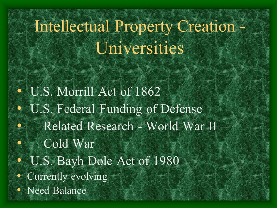 Intellectual Property Creation - Universities U.S.