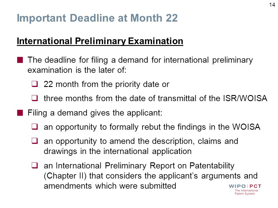Deadline at Month 19 Supplementary International Search A request for Supplementary International Search must be filed with the IB by Month 19 Applica