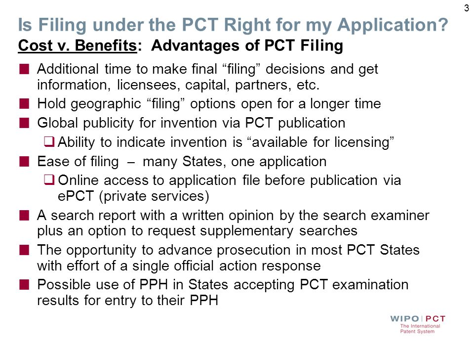 Decisions Before Filing Is filing under the PCT right for my application? How should the first application be filed? 2