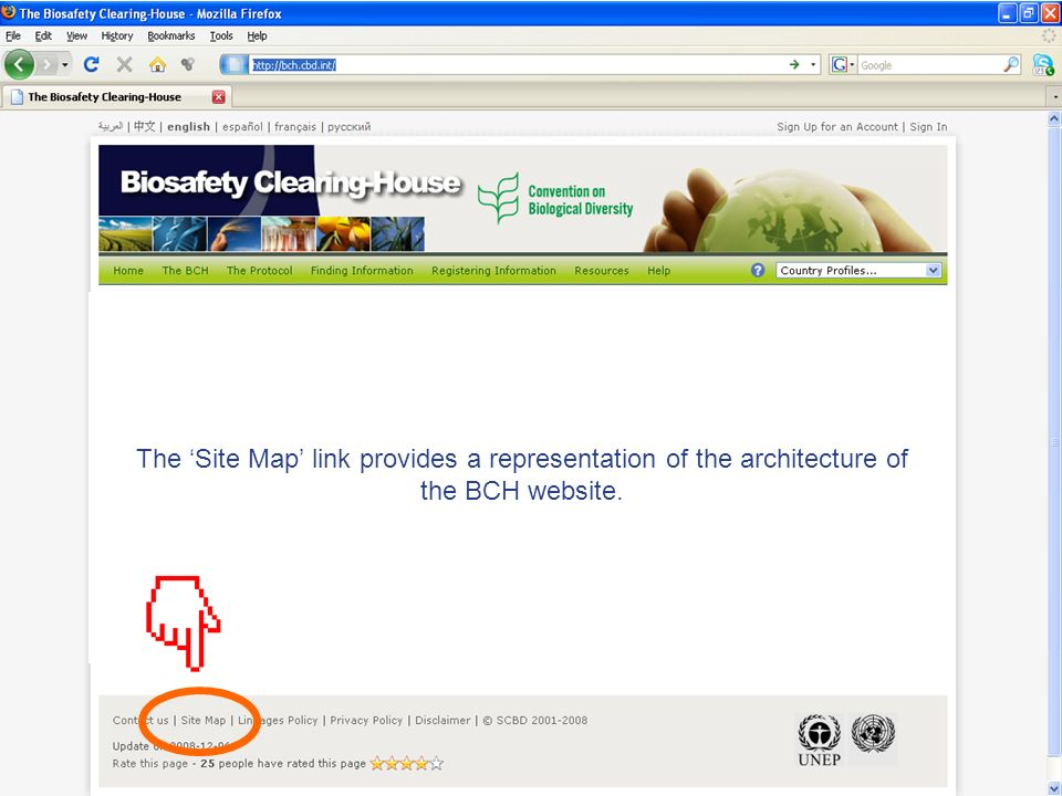 The Site Map link provides a representation of the architecture of the BCH website.