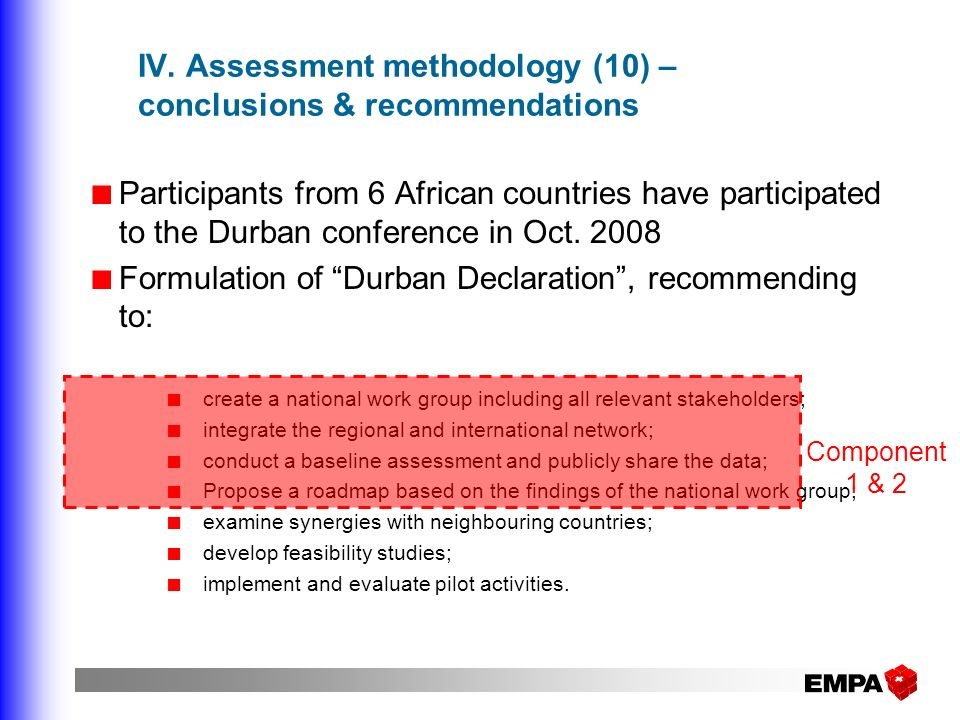 IV. Assessment methodology (10) – conclusions & recommendations Participants from 6 African countries have participated to the Durban conference in Oc