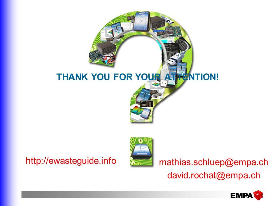 THANK YOU FOR YOUR ATTENTION! http://ewasteguide.info mathias.schluep@empa.ch david.rochat@empa.ch