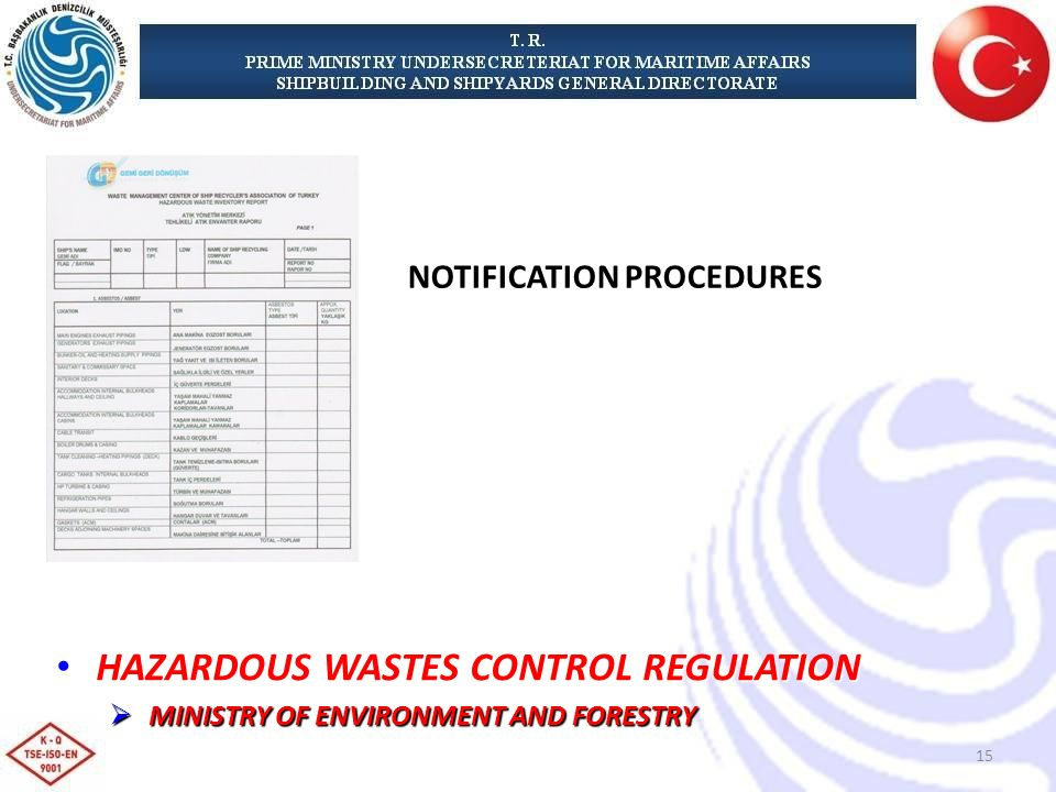 HAZARDOUS WASTES CONTROL REGULATION HAZARDOUS WASTES CONTROL REGULATION MINISTRY OF ENVIRONMENT AND FORESTRY MINISTRY OF ENVIRONMENT AND FORESTRY NOTIFICATION PROCEDURES 15
