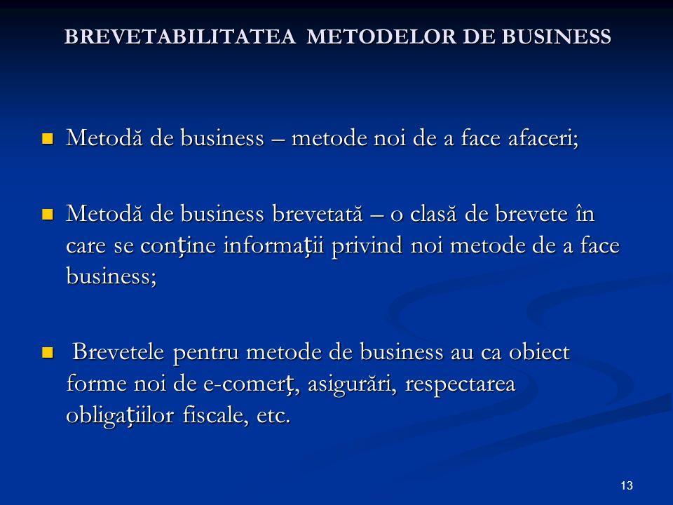 13 BREVETABILITATEA METODELOR DE BUSINESS Metodă de business – metode noi de a face afaceri; Metodă de business – metode noi de a face afaceri; Metodă