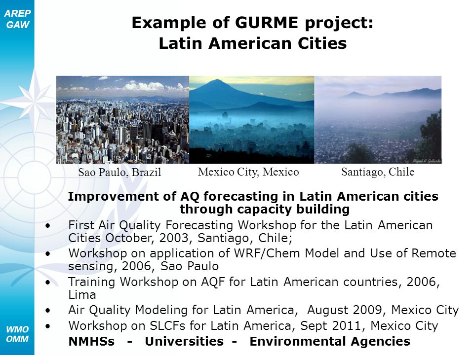 AREP GAW Santiago, Chile Sao Paulo, Brazil Mexico City, Mexico Example of GURME project: Latin American Cities Improvement of AQ forecasting in Latin