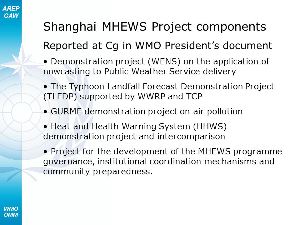 AREP GAW Shanghai MHEWS Project components Reported at Cg in WMO Presidents document Demonstration project (WENS) on the application of nowcasting to