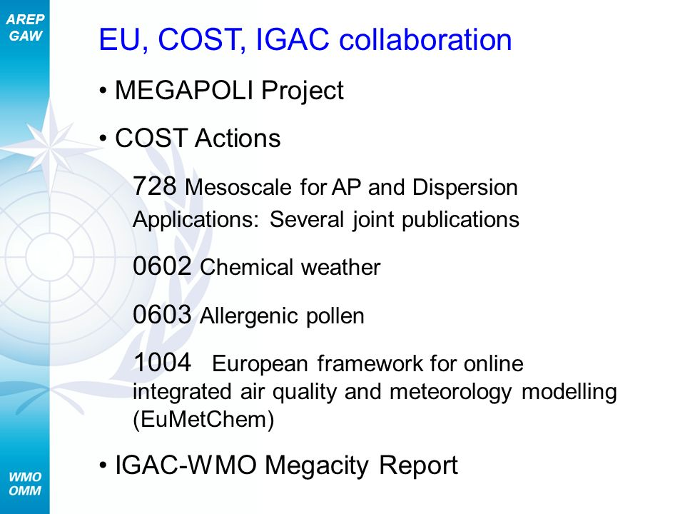 AREP GAW EU, COST, IGAC collaboration MEGAPOLI Project COST Actions 728 Mesoscale for AP and Dispersion Applications: Several joint publications 0602