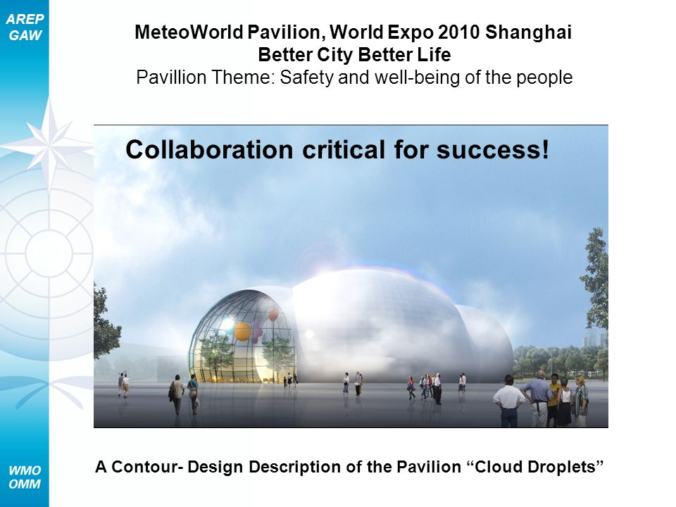 AREP GAW A Contour- Design Description of the Pavilion Cloud Droplets MeteoWorld Pavilion, World Expo 2010 Shanghai Better City Better Life Pavillion