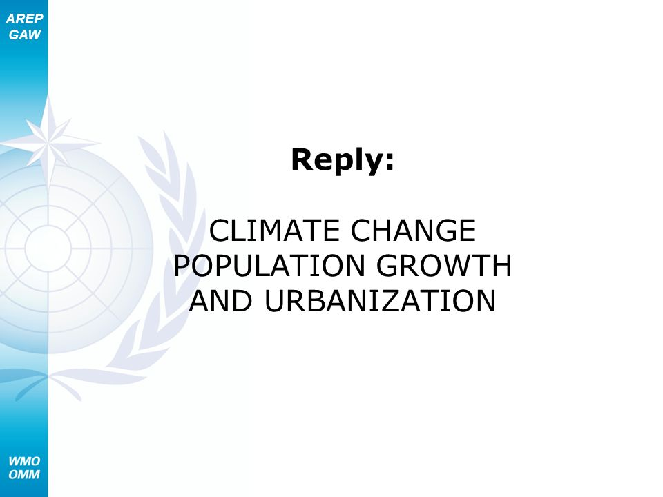 AREP GAW Reply: CLIMATE CHANGE POPULATION GROWTH AND URBANIZATION
