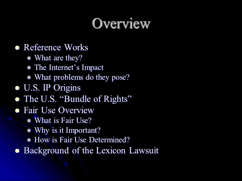 Overview Reference Works Reference Works What are they.