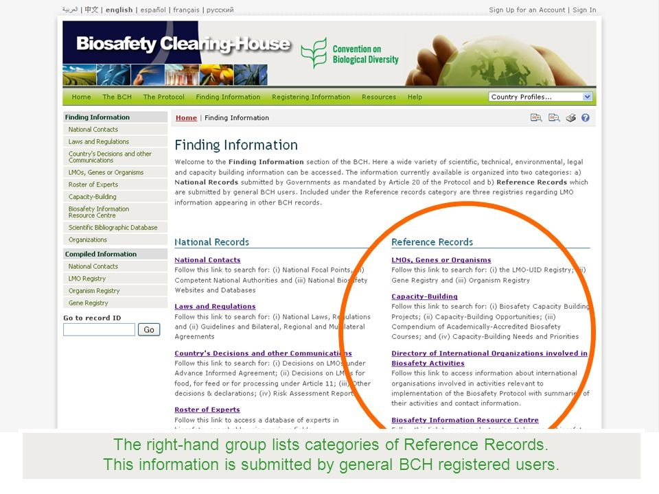 The right-hand group lists categories of Reference Records.