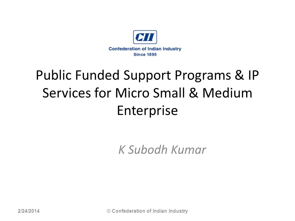 Public Funded Support Programs & IP Services for Micro Small & Medium Enterprise K Subodh Kumar 2/24/2014© Confederation of Indian Industry