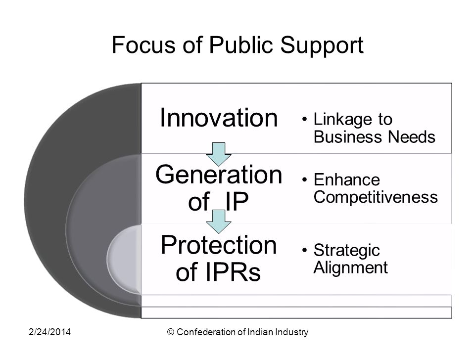 Focus of Public Support Innovation Generation of IP Protection of IPRs Linkage to Business Needs Enhance Competitiveness Strategic Alignment 2/24/2014