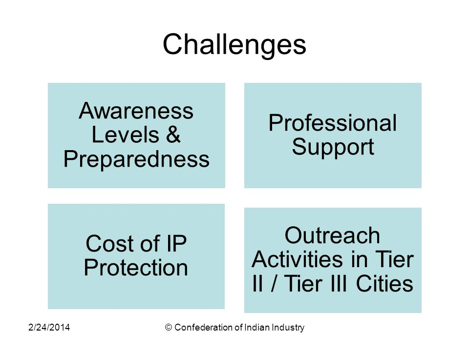Challenges Awareness Levels & Preparedness Professional Support Cost of IP Protection Outreach Activities in Tier II / Tier III Cities 2/24/2014© Conf
