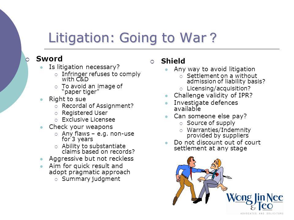 Litigation: Going to War .Sword Is litigation necessary.