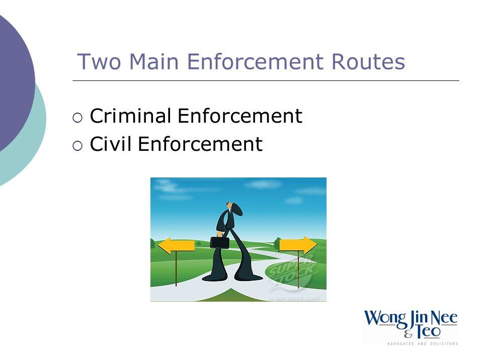 Two Main Enforcement Routes Criminal Enforcement Civil Enforcement