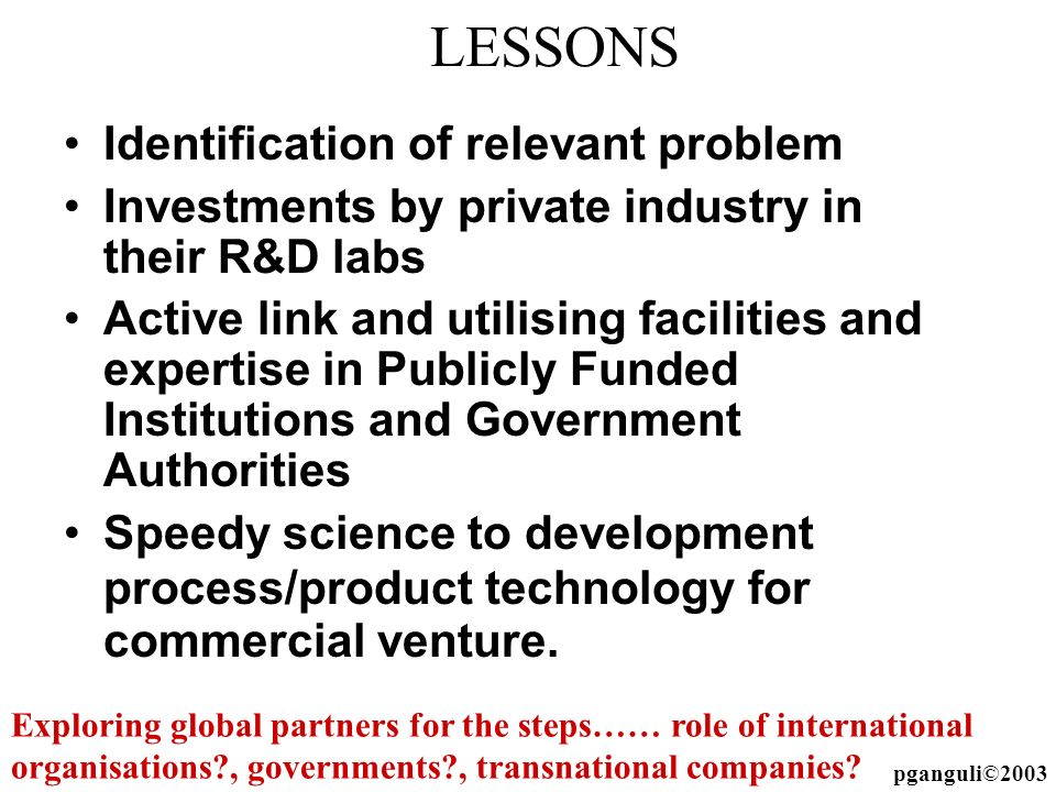 LESSONS Identification of relevant problem Investments by private industry in their R&D labs Active link and utilising facilities and expertise in Pub